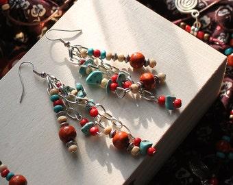 Boho African Earrings - Bohemian Style Earrings - Boho Jewelry - African Tribal Earrings - Boho Gypsy Earrings - Handmade