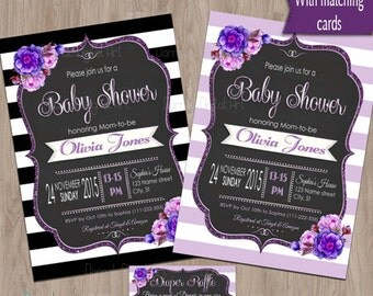 Purple Baby Shower invitation, baby shower invitation purple, Baby Shower Purple, Baby Girl Shower invitation, Baby Shower Girl, printable