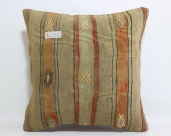 """striped kilim pillow 16""""x16"""" Turkish cushion cover Turkish rug pillow throw pillow boho pillow cushion cover decorative pillow SP4040-1294"""