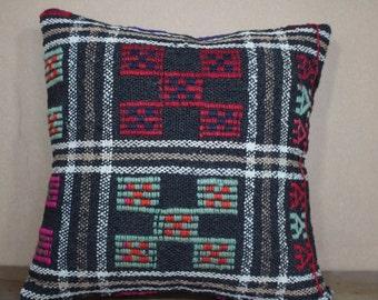 Kilim Pillow 16x16 Embroidery Turkish Kelim Cushion Cover 40cm x 40 cm SP40-260