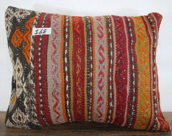 16x18 pastel kilim pillow cover flat woven Turkish kilim pillow cover 16x18 yellow and red plaid kilim cushion cover SP4040-168
