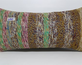 Chaput Kilim Pillow Plaid Kilim Pillow 12x24 Turkish Kilim Rug Pillow Cover Lumbar Pillow Kilim Lumbar Pillow 12x24 Stripe Pillow SP3060-290