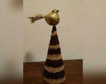 Handcrafted, One of a kind, brown and Gold lace Christmas tree with Gold Bird