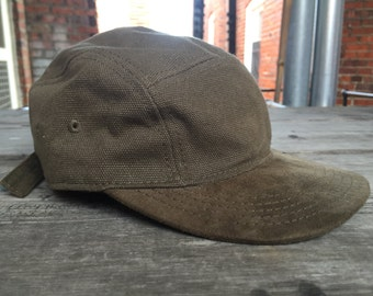 Vintage New Era Canvas and Suede 5 Panel Strapback