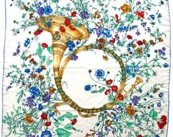 Vintage Saks Fifth Avenue Accornaro Style Botanical & Horn Silk Scarf Square