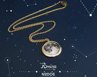 Moon, Moon necklace necklace, full moon