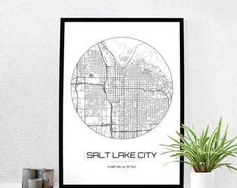 Salt Lake City Map Print - City Map Art of Salt Lake City Utah Poster - Coordinates Wall Art Gift - Travel Map - Office Home Decor