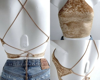Gold Halter Crop Top Women's Clothing All Sizes Available