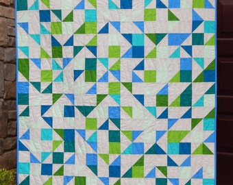 Modern Lap Quilt, Triangle Quilt, Handmade Quilts for Sale, Sea Glass Quilt, Summer Quilt, Beach Quilt, Blue Green Quilt, Homemade Blanket