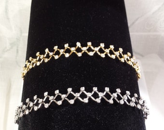 headband. silver and gold