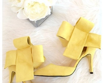 Yellow BRADSHAW BOW HEELS