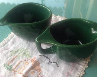 Vintage Dark Green speckled pottery Cream and Sugar Set
