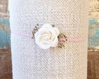 White Rose Headband