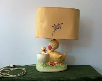 Antique/Vintage-1950's- Painted Ceramic Ducks- Nursery Lamp and Nightlight