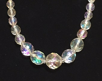 Vintage Signed W Germany AB Crystal Bead Necklace