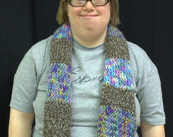 Lavender and brown knit scarf