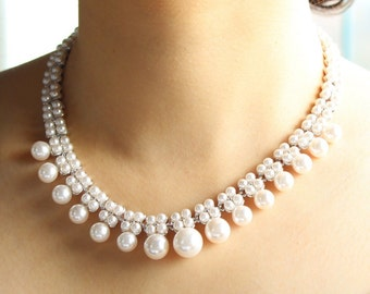 Wedding pearl necklace, pearl necklace, bridal necklace, chunky pearl necklace, bridesmaid gift, bridal necklace pearl