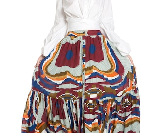 Multi Maxi Gathered Skirt
