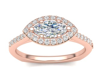 Rose Gold Engagement Ring .25ct Marquise Halo Ring Semi Mount Shared Prong 0.50ct Marquise Center Customizable Brand New 14K Setting Only