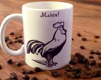 Marc! Polo! Mug, two sided, coffee mug, funny, cup, gift, humorous, MugShotDesigns