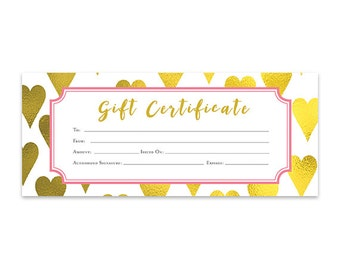 Pink, Mint Green, Geometric, Gift Certificate Download, Premade ...