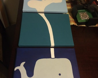 Whale nursery canvas set of 3