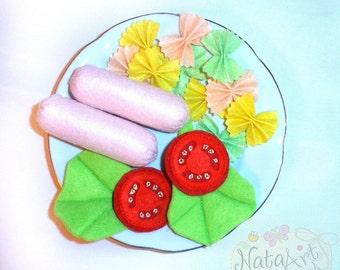 Felt breakfast set with  pasta, frankfurters, a tomato  and salad,Felt breakfast food,Breakfast Platter, Pretend Play, felt food,  gift
