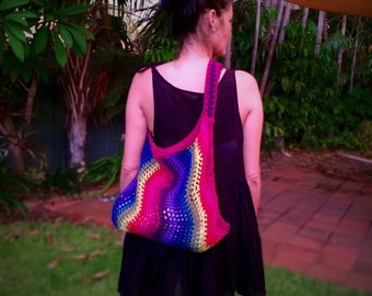 SOLD Rainbow Zigzag Beach Bag / Eco Shopping Bag