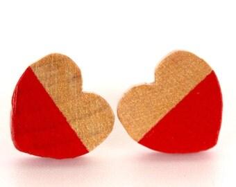 Red Wood Heart Earrings
