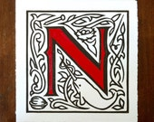 Alphabet Print, Letter N, Linocut Print, Custom Color, Alphabet Wall Art, N is for Nail, Needle, Nest, Narwhal, and Nut