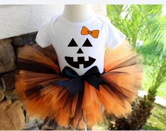 Orange and Black Tutu Set, Halloween Tutu, Jack O Lantern Tutu Set, Jack O Lantern Shirt, Halloween Costume, First Halloween Outfit