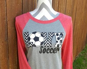 Soccer Mom Shirt LOVE Soccer Shirt Raglan