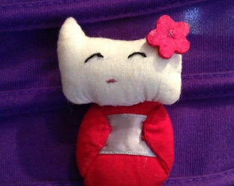Free shipping cat Geisha felt brooch - Cat Brooch felt