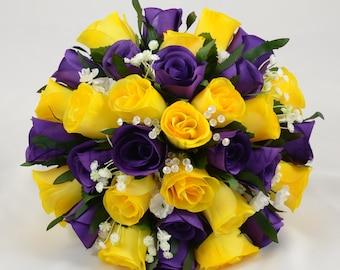Artificial Wedding Flowers, Purple & Yellow Rose Brides Bouquet Posy