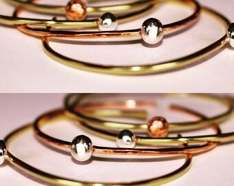 Orb Bracelet in Sterling Silver, Copper or Brass