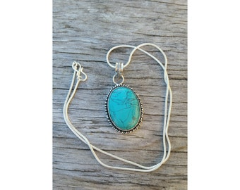 Turquoise silver layering necklace