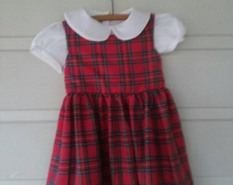 Vintage 50's Tartan Pinafore with a seperate White Peter Pan Collar Shirt