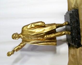 Rare Vintage Soviet Russian. Bust made of aluminum. Bust Lenin 33-40cm USSR Propoganda