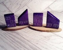 Set of 4 Miniature OOAK Clay Houses - Handmade - UK Seller Only