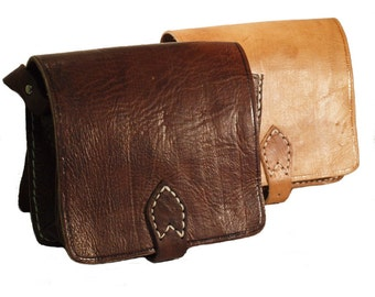 Moroccan Handmade Leather Travel Bag with Adjustable Strap Tan and Dark Brown Small