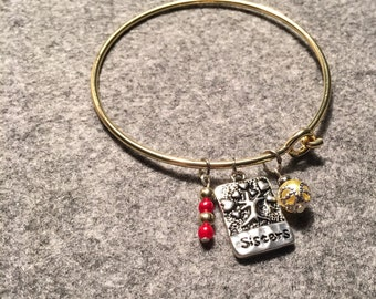 Bangle Bracelet with fresh water pearls and stamped charm