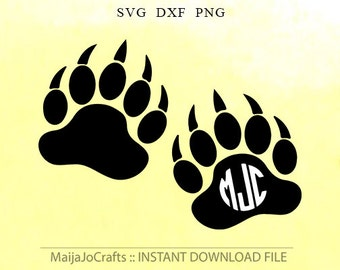 Bear paw svg, SVG files paw digital download - paw clipart svg, dxf, png, Vinyl Files, Cricut, Silhouette Cut Files vector file Paw monogram
