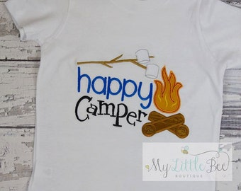 Happy Camper shirt - boy Happy Camper-Camping shirt-Camp fire