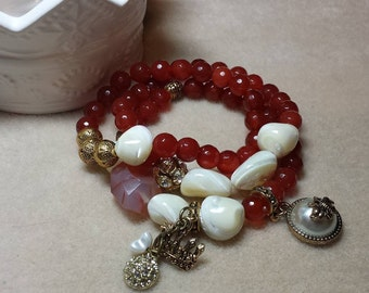 Queen Bee Mother of Pearl and Carnelian 3 piece stregth beaded bracelet set