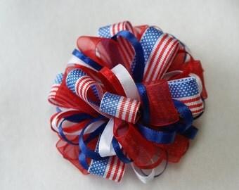 American Flag Loopy Hair Bow