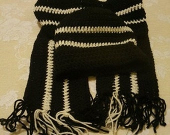 Hat and Scarf Set- Black/White