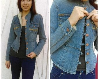 Beautiful Vintage Women's Jacket, Blue Denim Jacket, Spring Jacket, Buttons Down Jacket