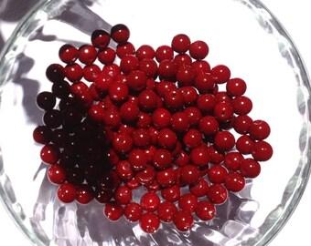 "Beads 8mm red ""red wine"" / lot 10 round intense dark red glass beads"