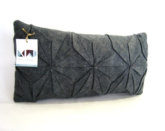 Grey felt pillow / geometric pillow / handmade / Japanese geometrical pattern