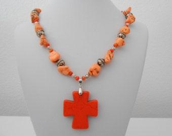 orange magnesite cross necklace